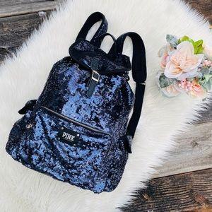 PINK VS Navy Blue Sequined Backpack